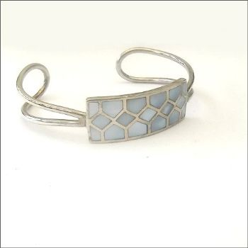 Silver Cuff with Blue Shell inlay